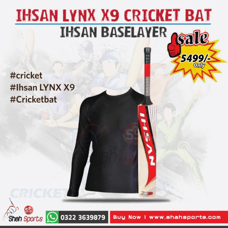 Ihsan Lynx X9 Cricket Bat + Ihsan Baselayer
