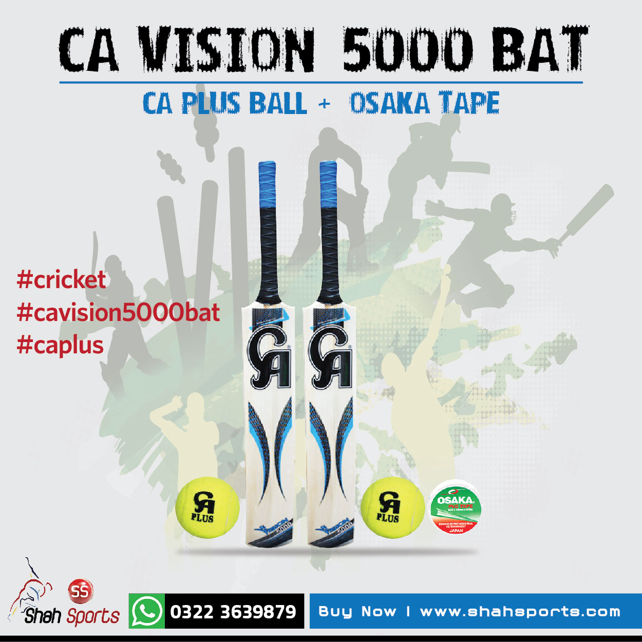 Two CA Vision 5000 Tape Ball Bats + Two CA Plus Tennis Balls + One Osaka Tape