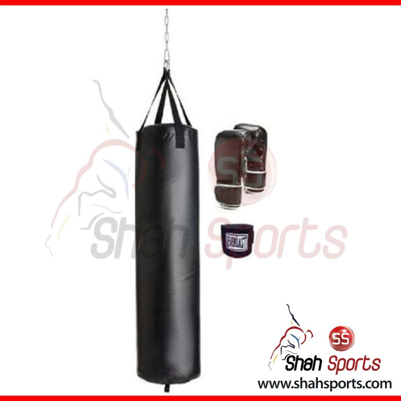 Boxing Bag & Gloves with Wrist Grip - black